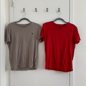 Ralph Lauren Tee Shirts Gray and Red (Set of 2)